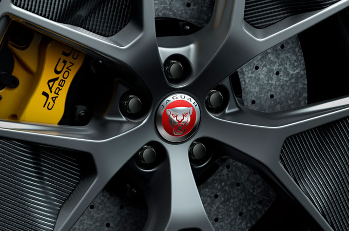Jaguar XE SV Project 8 wheels featuring the Jaguar badge
