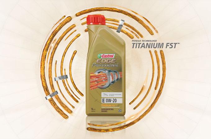 A bottle of Castrol EDGE Professional Titanium FST.