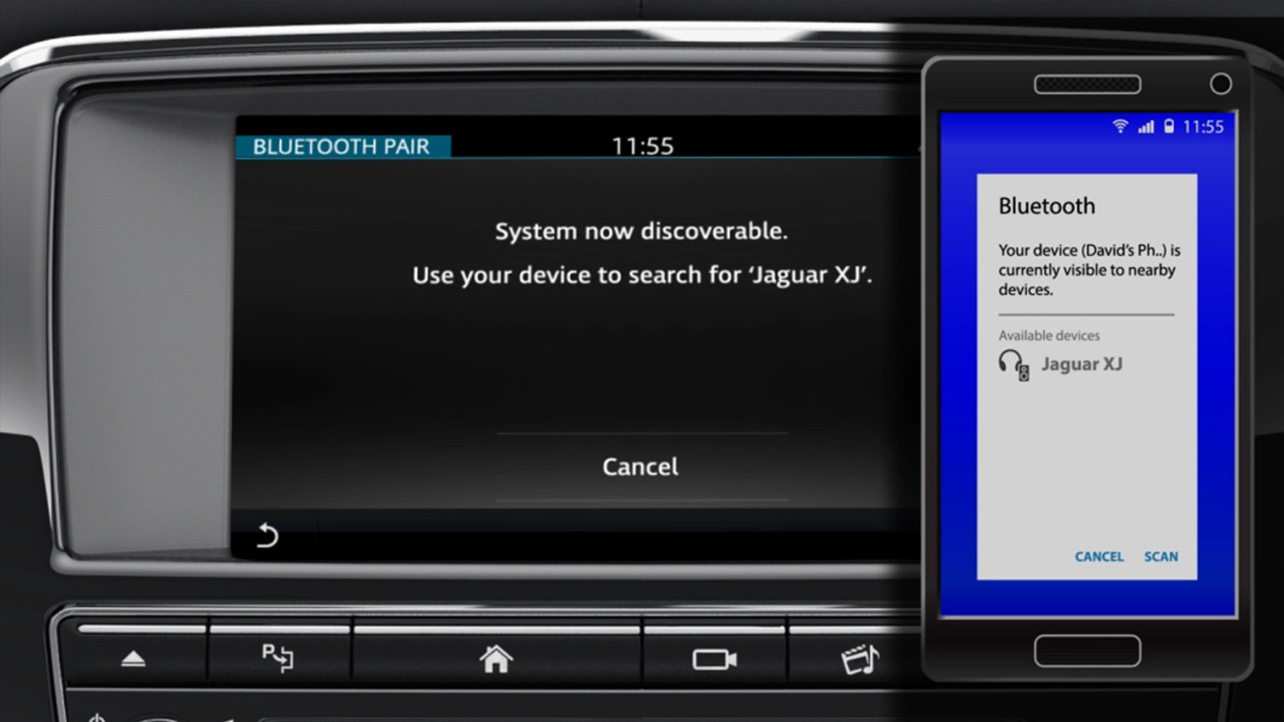 Jaguar XJ's InControl Touch Pro: In-Car Bluetooth Pairing information video.