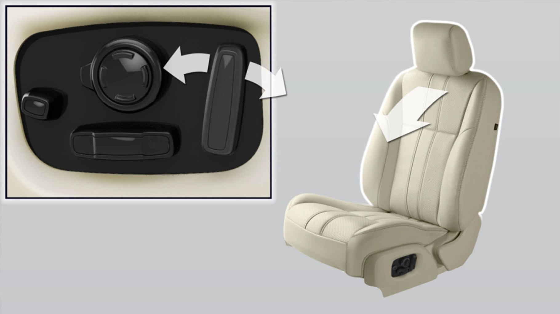 A Jaguar XJ car seat, with the seat adjustment control buttons.