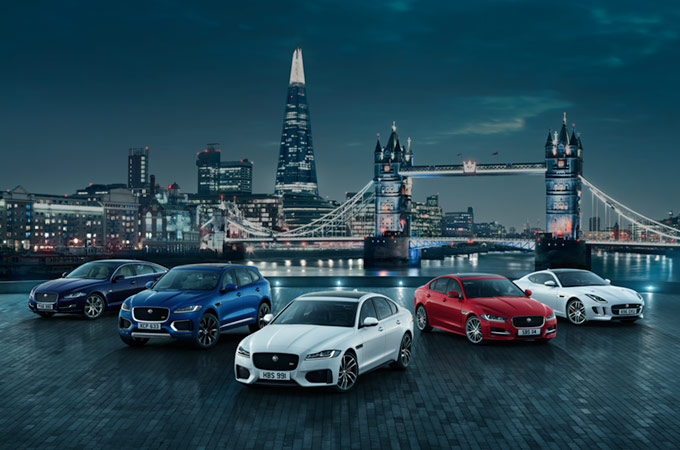 Jaguar Range photo with London's Tower Bridge in the Background.