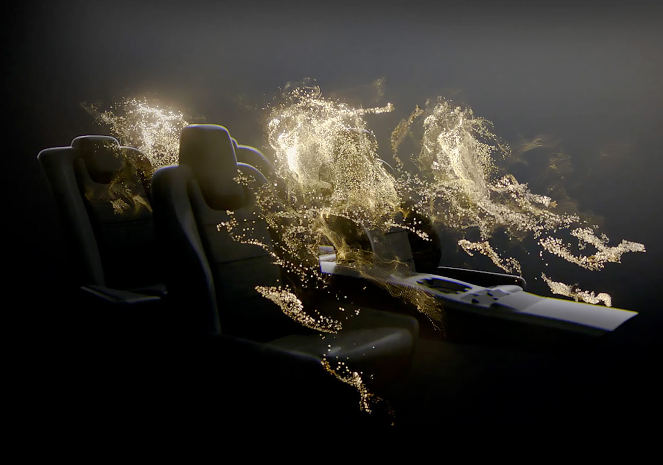 Meridian concept image of light floating around the seats of a Jaguar vehicle