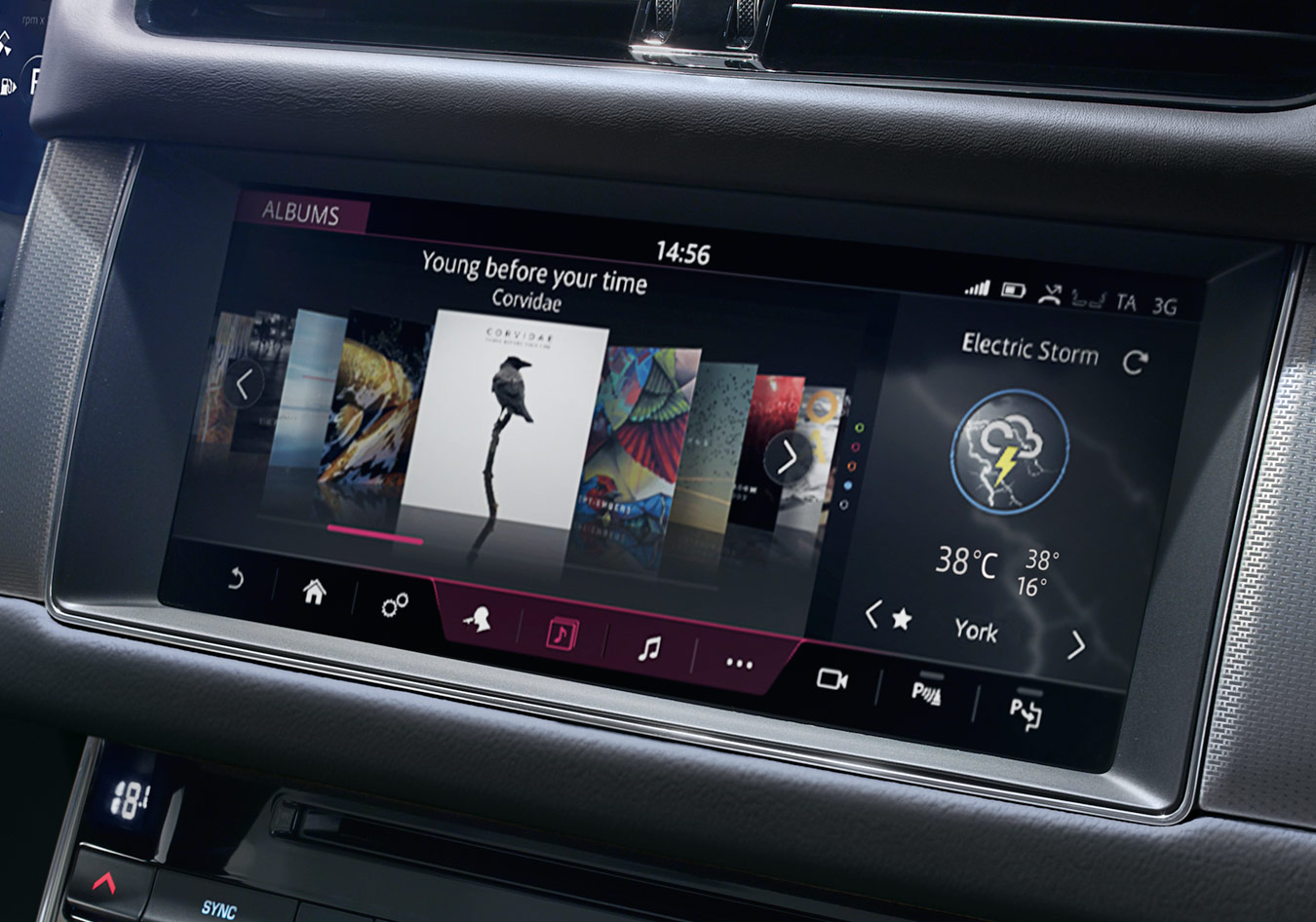 Close-up of touch screen display with INCONTROL infotainment options available on it