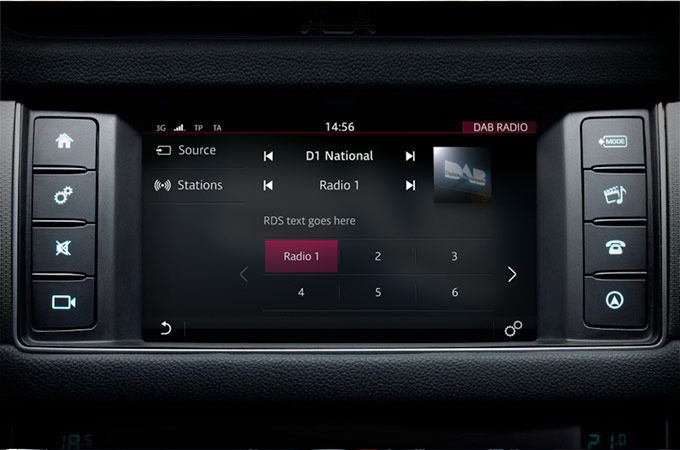 Close up of touchscreen with DAB Radio on it