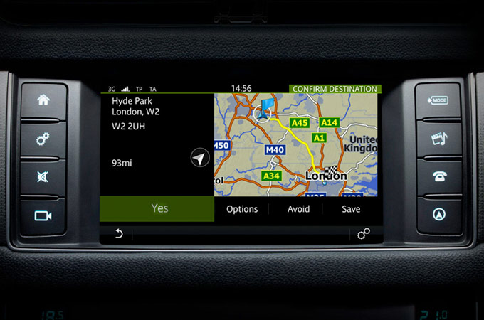 Close-up of Navigation app on touchscreen