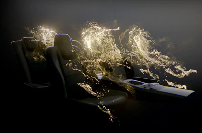 Concept image for Meridian Sound Systems with Jaguar seats surrounded by floating lights