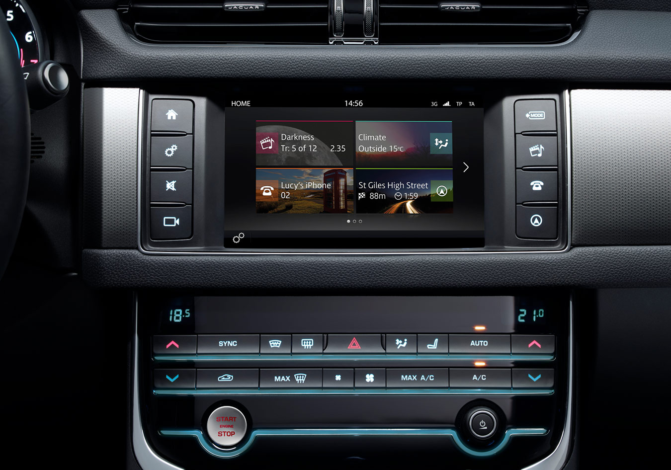 "Close-up of centre console focussing on Touch Pro 10"" Display and Climate Controls"