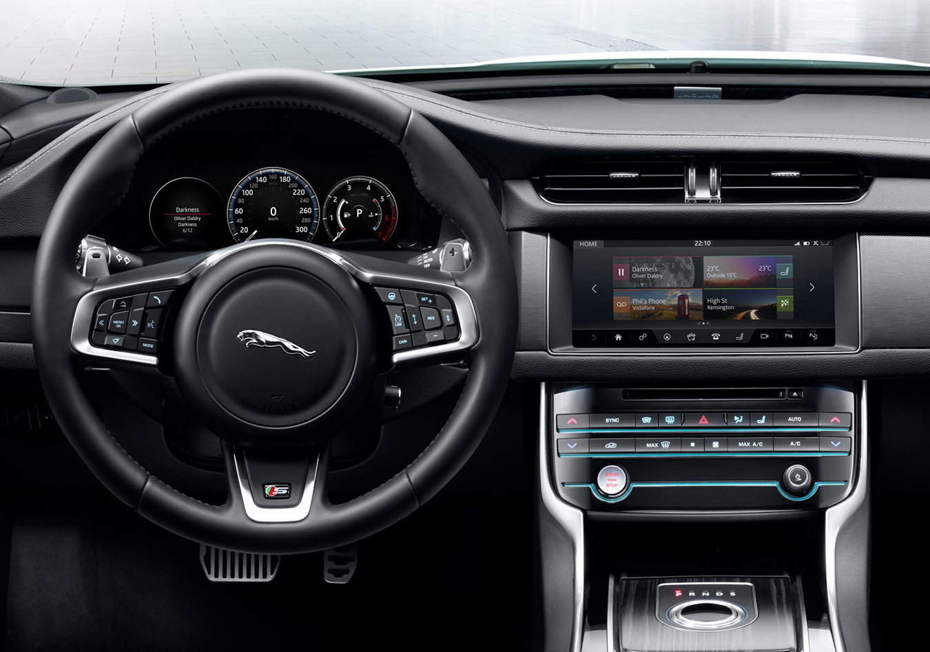"Interior image of a Jaguar cockpit focussing on the TOUCH PRO 10"" screen"
