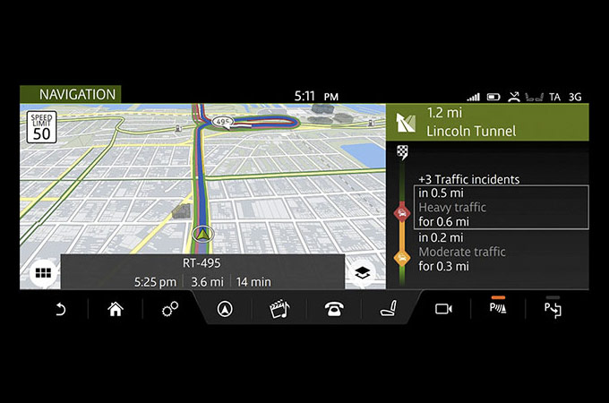 "Image of the Connect Pro Navigation Services on the 10"" touch screen."