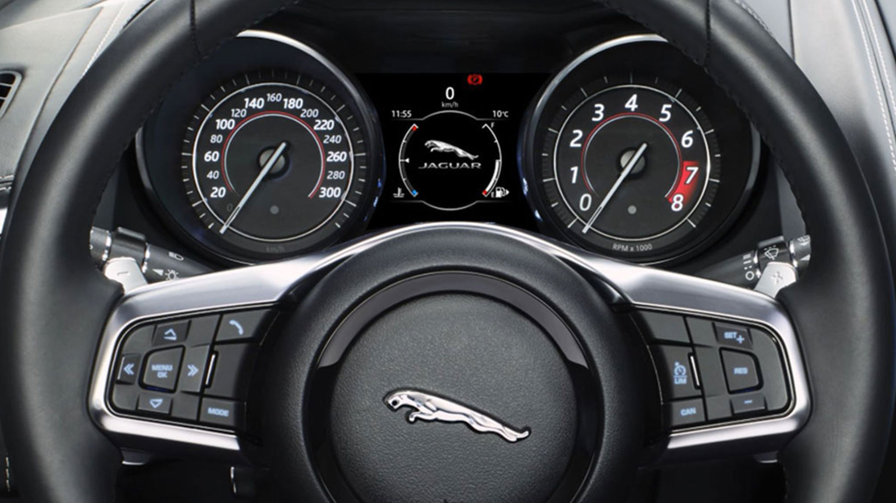 Close Up Of Jaguar F-Type Steering Wheel Controls.