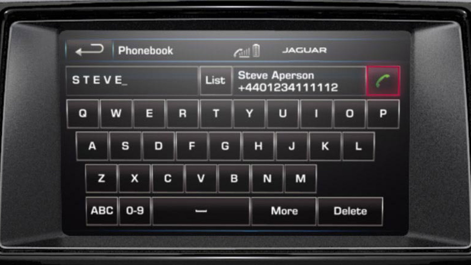 Jaguar F-Type Hands Free Phone Display.