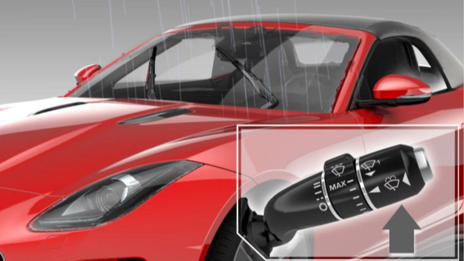 Red Jaguar F-Type With Close-Up Of Windscreen Wiper Controls.