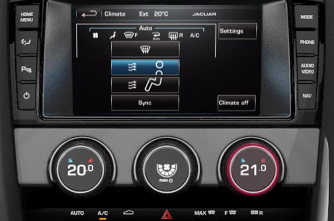 Jaguar F-Type Automatic Climate Control On-Screen Display