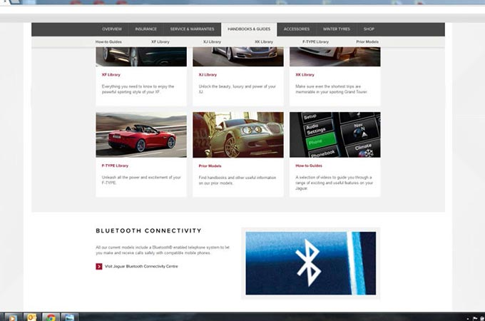 Screeenshot of the Bluetooth Connectivity Web Page
