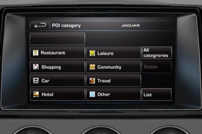 Navigation System Points Of Interest Screen Display