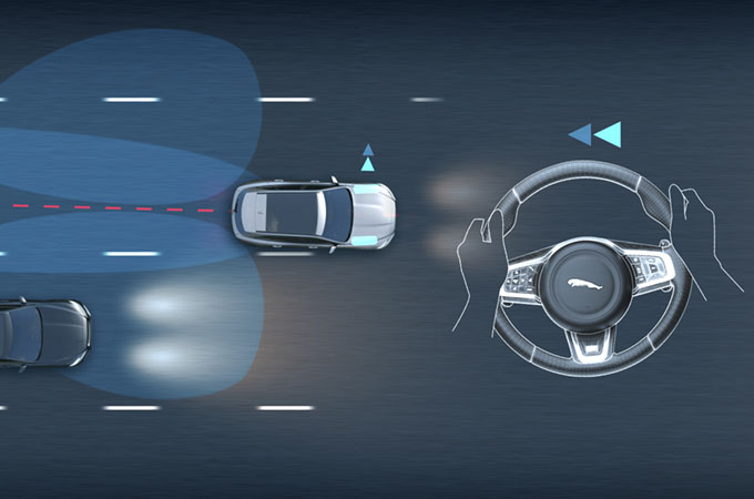 Diagram of Blind Spot Assist applying calculated steering torque to guide the vehicle to safety.