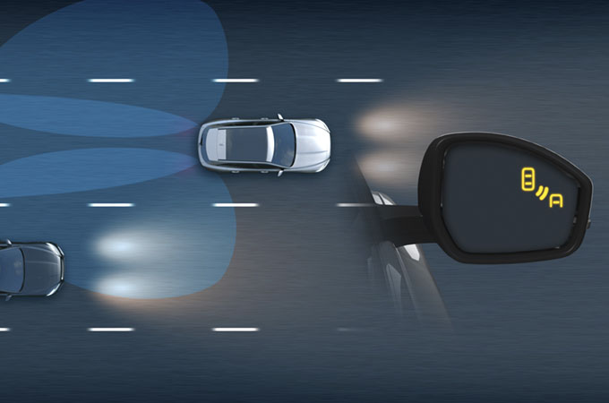 Diagram of Blind Spot Monitor alerting the driver of an obstacle approaching their blind spot.