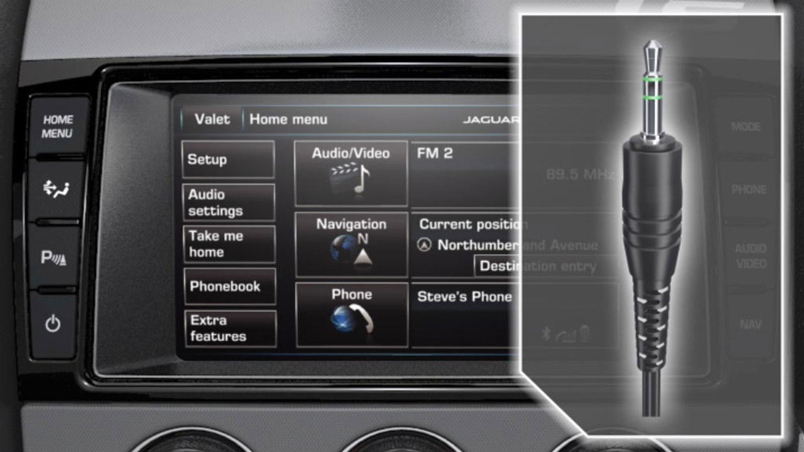 Audio Connectivity Via Aux On-Screen Display.