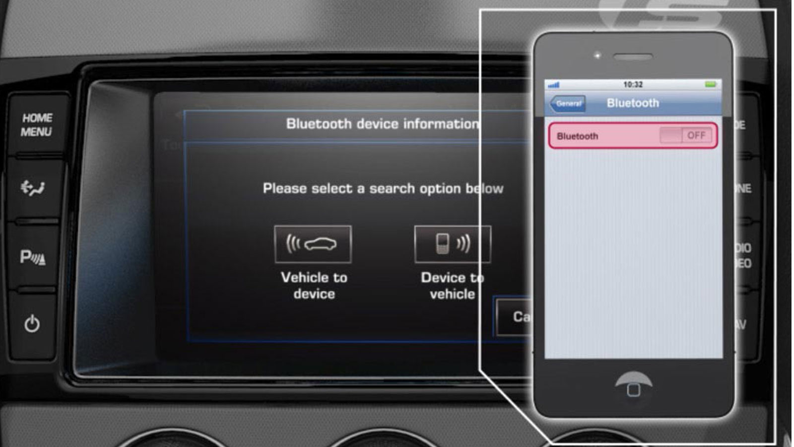 Incontrol Bluetooth Vehicle To Device Pairing On-Screen Display