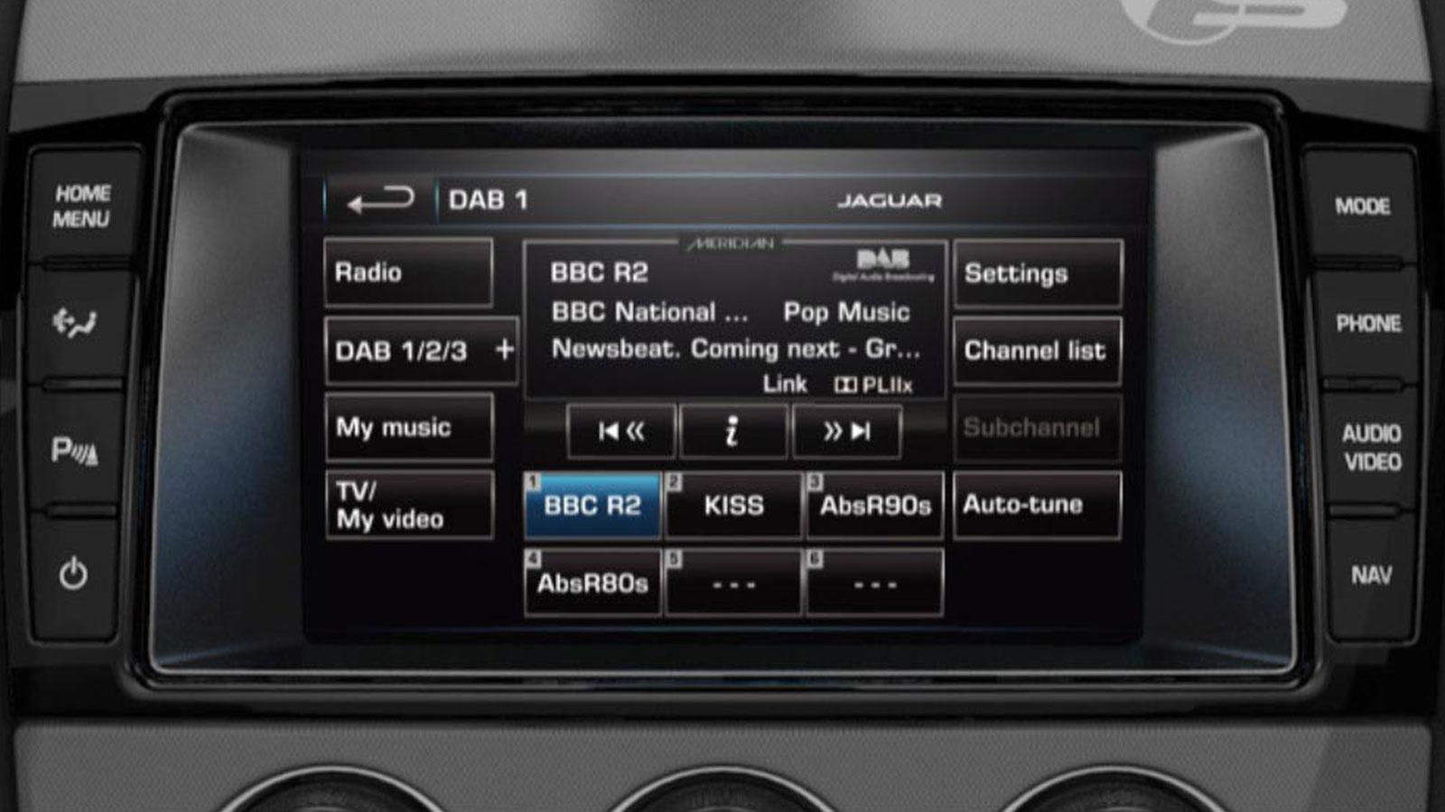 Incontrol DAB Radio On-Screen Display.