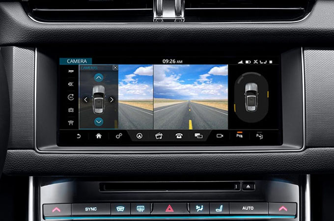 Close-up of the touch screen displaying the rear view camera.