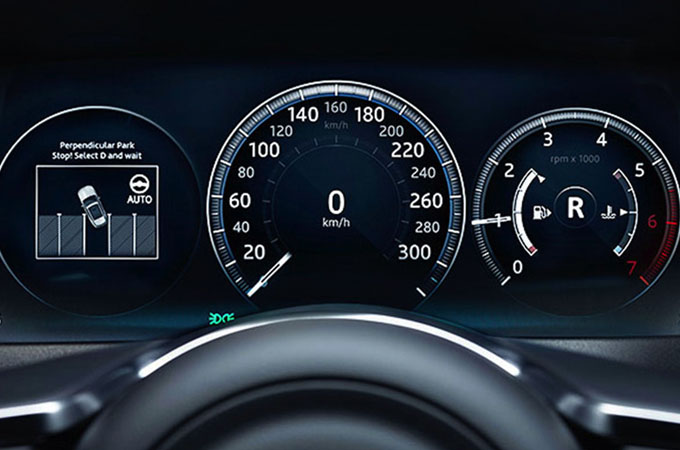 Close-up of the Park Assist display guiding the driver into the bay