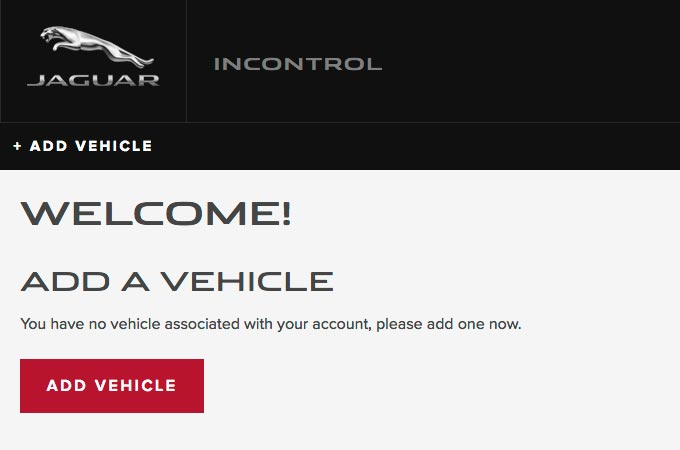Screenshot of Jaguar INCONTROL Add A Vehicle Page