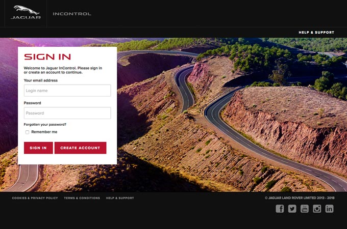 View of the Jaguar InControl webpage featuring sign up form