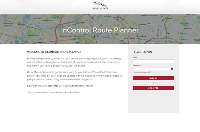 Screenshot of Route Planner website