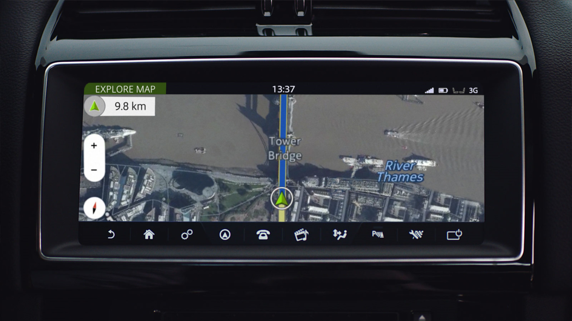 "Close-up of the INCONTROL Navigation app on the 10"" Touchscreen display"