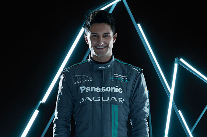 Head and shoulders shot of Jaguar Racing driver, Mitch Evans.