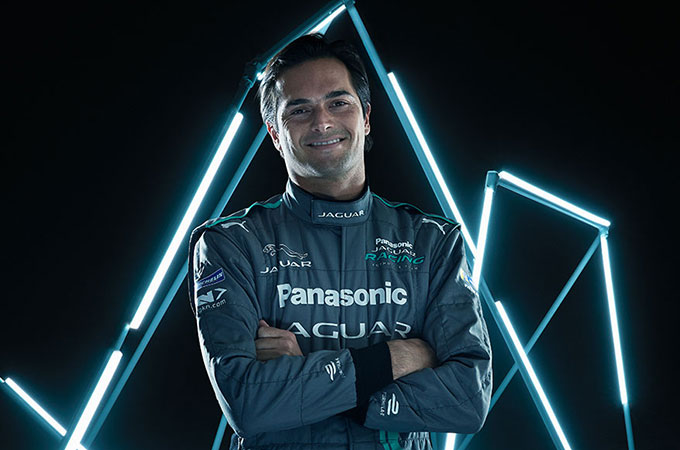 Head and shoulder shot of Jaguar Racing driver, Nelson Piquet Junior.