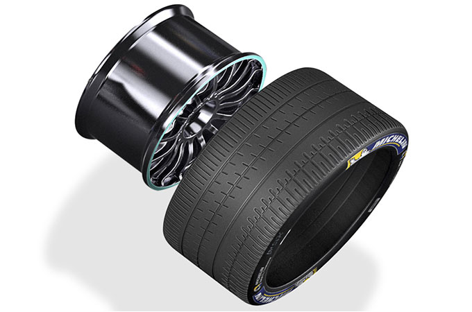 A wheel and tyre from Jaguar Racing's I-TYPE 2.