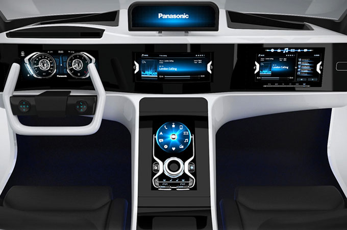Dashboard view of Panasonic's high-performance car technology.