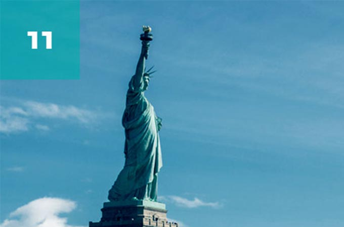 The Statue of Liberty, in New York.