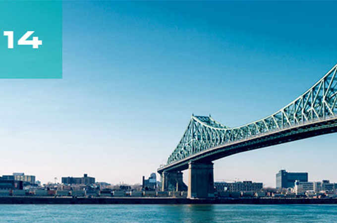The Jacques Cartier Bridge, over the St. Lawrence River, in Montréal.