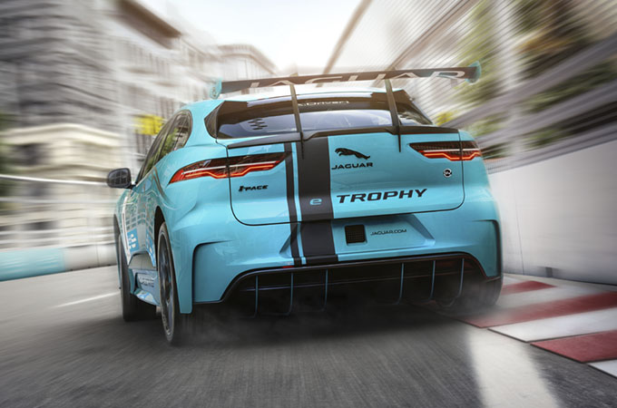 Jaguar Racing's I-PACE Rear eTROPHY, driving on a street circuit.