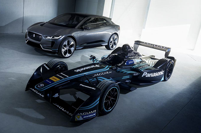 The Jaguar I-TYPE 2, side-by-side, with the I-PACE Concept.