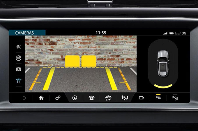 Jaguar F-PACE's InControl Touch Pro: Parking Aid System information video.
