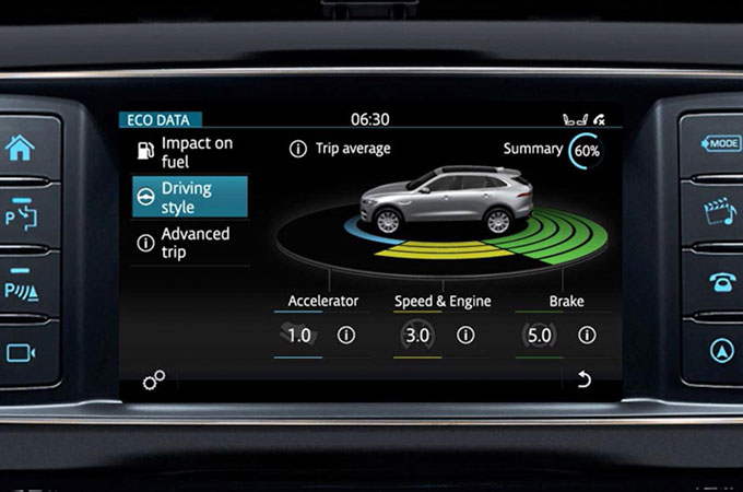 Jaguar F-PACE's InControl Touch: Eco Data information video.