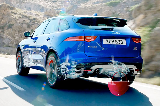 Computer Generated Image of the Jaguar F-Pace's suspension and performance.