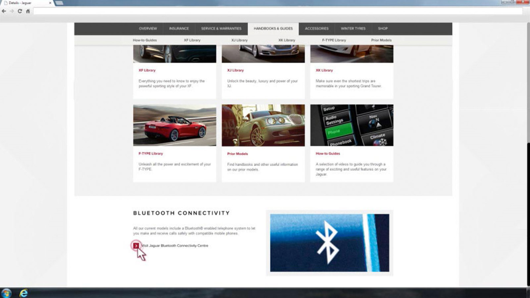 Jaguar XF Bluetooth connectivity Website