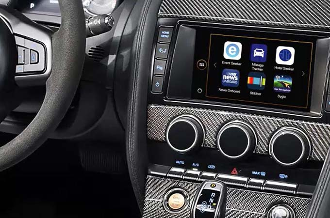 Jaguar F-Type InControl Apps Shown on Touchscreen