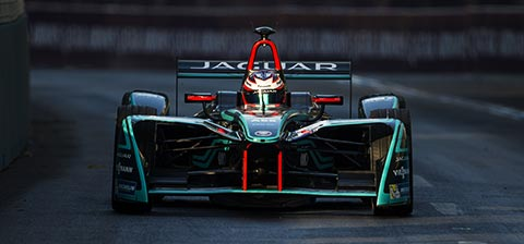 Jaguar Racing Car on Formula Track