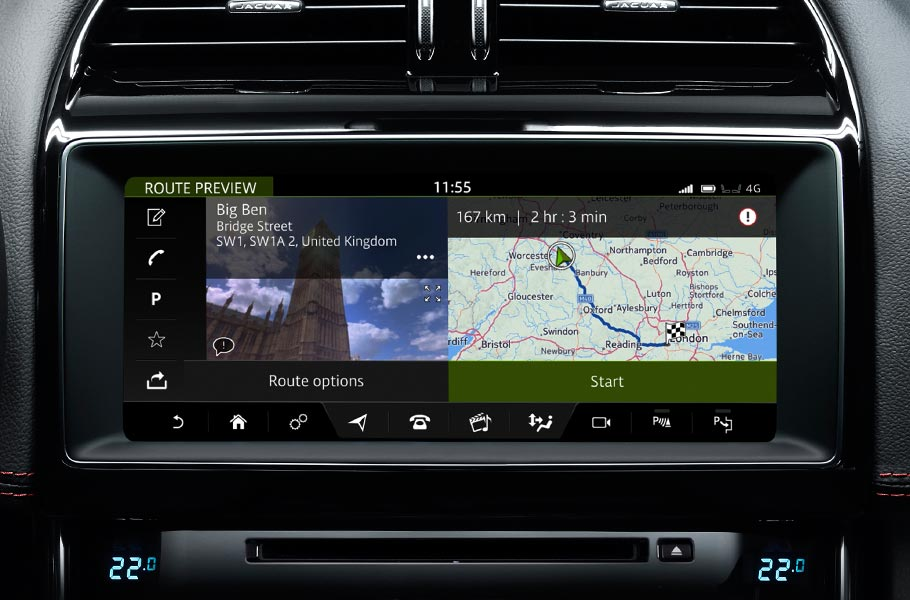 Jaguar XE InControl Navigation Interface on Touch Screen