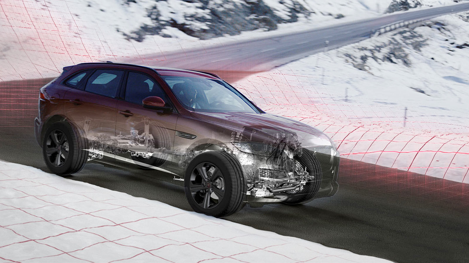 Jaguar F-Pace On Road Snow.
