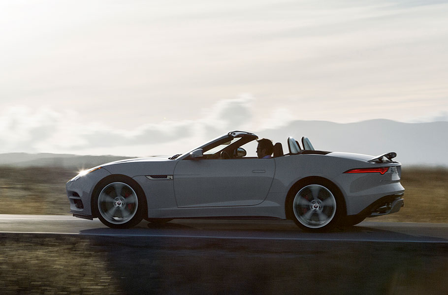 F-TYPE convertible driving on road