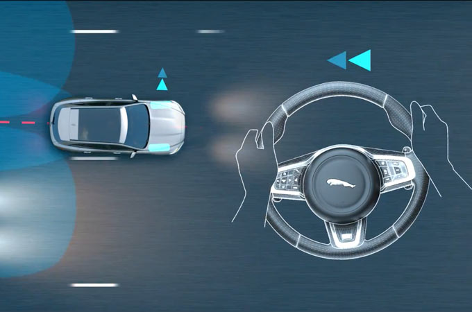 Overhed View Of Blind Spot Assist Guiding F-Type Away From Apporaching Vehicle.