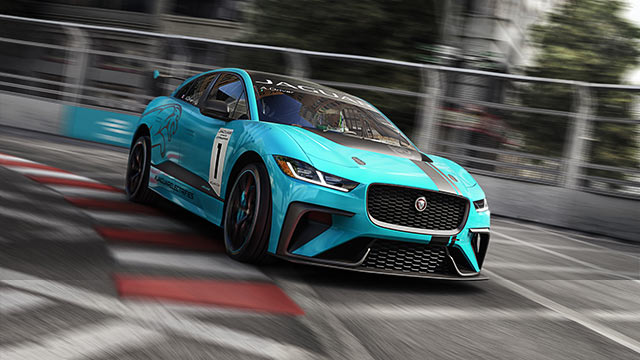 Jaguar all electric Blue I-PACE driving on race track