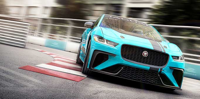 Jaguar I-PACE driving on race track